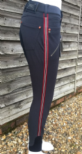 HKM PRO TEAM DYNAMIC STRIPE LADIES BREECHES - DEEP BLUE WITH DEEP RED SALE